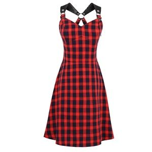 Dresses & Skirts - Plaid Faux Leather Strap Mini